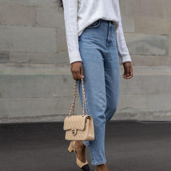 Mom jeans and Chanel slingbacks